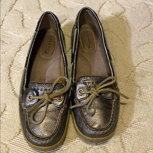 Silver Sperry Boat shoes. Size 6